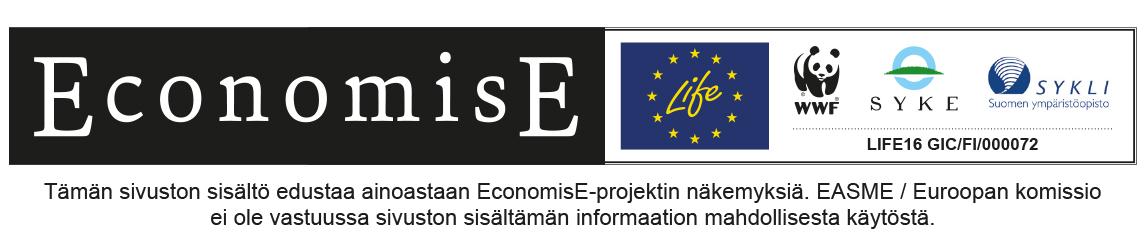 LIFE EconomisE-hankkeen logot ja disclaimer-teksti.