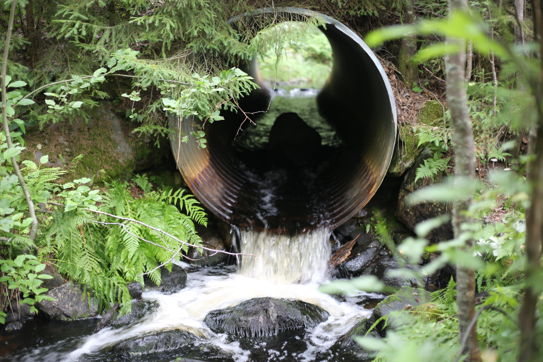 Vesi virtaa ulos siltarummusta.